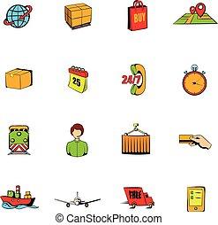 Logistics comics icons set cartoon