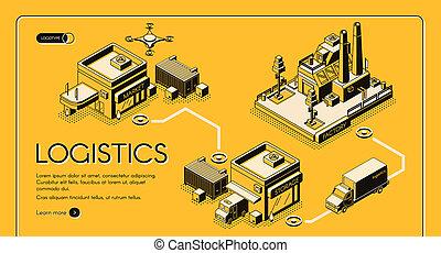 Logistics company isometric web banner