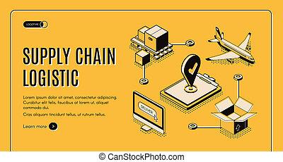 Logistics company supply chain isometric webpage