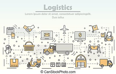 Logistics concept vector flat line art illustration