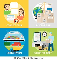Logistics concepts. Worldwide logistic network, warehouse and delivery vector illustration. Business transportation container