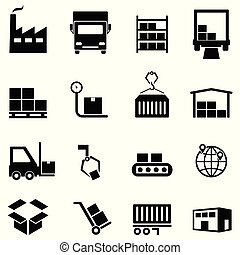 Logistics, distribution and warehouse icons
