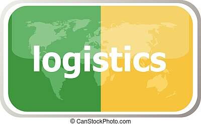 logistics. Flat web button icon. World map earth icon. Vector illustration