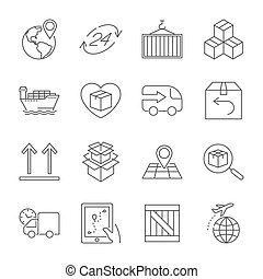 Logistics icons. Editable Stroke.