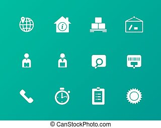 Logistics icons on green background.