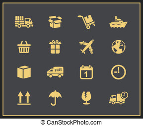 Logistics icons set