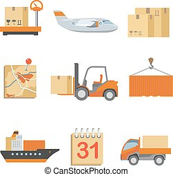 Logistics icons set in vintage flat style