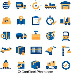 Logistics and delivery concept blue yellow icons set with time and transport symbols flat isolated vector illustration