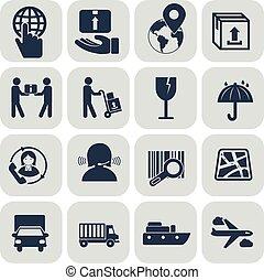 Logistics icons set on grey background