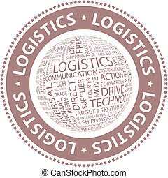 LOGISTICS. Word cloud illustration. Tag cloud concept...