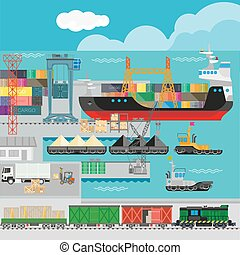 Logistics in port infographics template.
