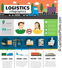 Logistics infographics vector illustration. Cargo transportation concepts with shipping and containers, train air freight