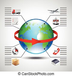 Logistics infographics with earth globe, red arrow and icons