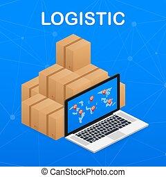 logistics., isometrisch, vektor, stadt, büro., logisitk, auslieferung, infographics., illustration., daheim