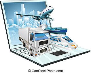 Logistics laptop computer, delivery, transportation; plane, truck, ship, train concept