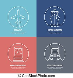 Logistics line icons. Airmail cargo transportation, delivery and shipping