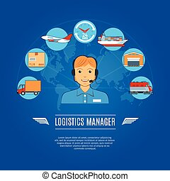 Logistics Manager Concept Icons