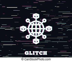 Logistics network line icon. Parcel tracking. - Glitch ...