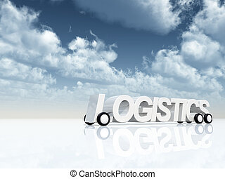 logistics on wheels under cloudy blue sky - 3d illustration