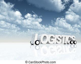 logistics on wheels under cloudy blue sky - 3d illustration