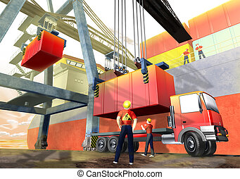 Logistics port and crane - 3d illustration render, Logistics...