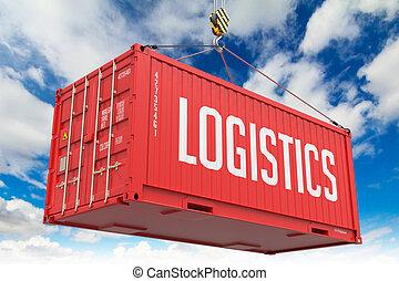 Logistics - Red Hanging Cargo Container.