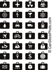 Logistics services around the world icons set