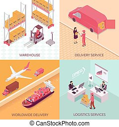 Logistics Services Isometric Design Concept