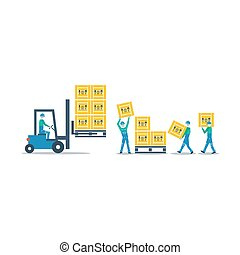 Logistics services, warehouse workers with boxes
