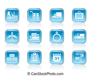 logistics, shipping icons