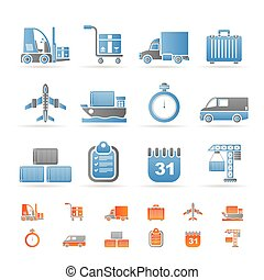 logistics, shipping and transportation icons - vector icon set