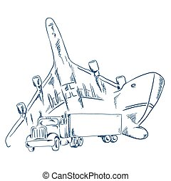 Logistics sign with a truck, ship and airplane sketchy vector illustration