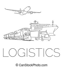 Logistics sign with plane, truck, container ship and train vector illustration