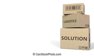 LOGISTICS SOLUTION caption on boxes. 3D animation