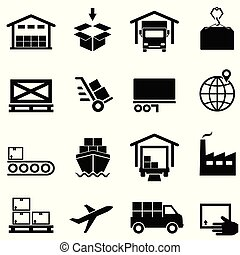 Logistics, supply chain, distribution, warehousing and shipping icons