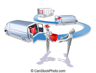 Logistics van truck - 3d illustration render, Logistics van...