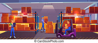 Logistics, warehouse interior with workers inside