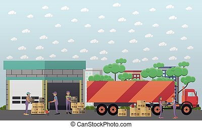 Logistics warehouse vector illustration in flat style