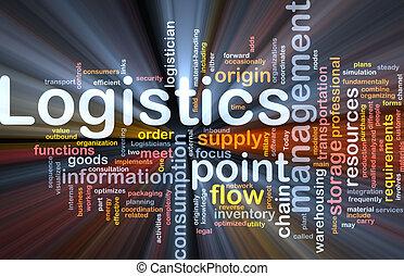 Logistics word cloud glowing - Word cloud concept...