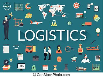 logistics - Word LOGISTICS with big set of involved flat ...