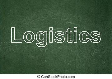 logistiek, concept:, achtergrond, chalkboard, zakelijk