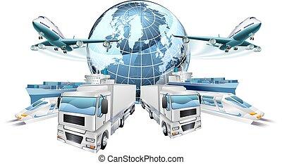 logistiek, concept, vervoeren