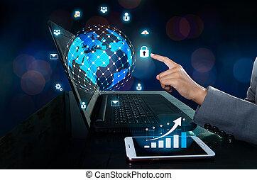 logistiek, de mededeling verbindt, toetsenbord, boodschap, blauwe , netwerk, grafiek, zenden, computer., heeft, wereldwijd, kaart, zakelijk, hand, donker, telefoon, drukken, wereld, knoop, communicatie, binnengaan, icon.