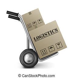 logistiek, doosje, karton, vrachtwagen, hand