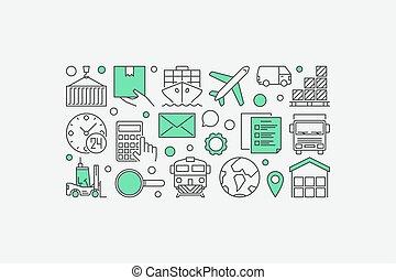 logistiek, en, aflevering, illustratie