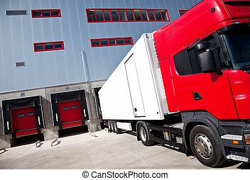 logistiek, gebouw, vrachtwagen