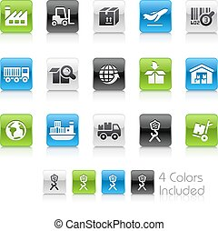 logistiek, industrie, iconen