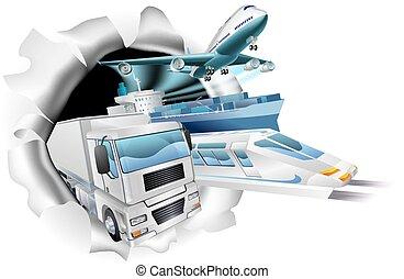 logistiek, lading, concept, vervoeren