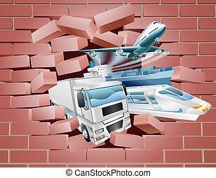 logistiek, lading, concept, vervoeren, muur