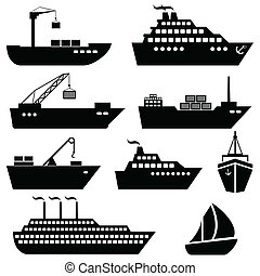 logistiek, lading, iconen, expeditie, schepen, bootjes